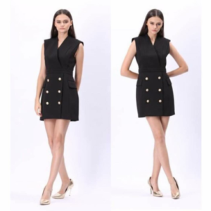 Black Sleeveless Coat Dress