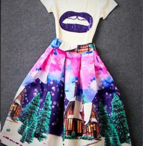 Printed Flare Skirt