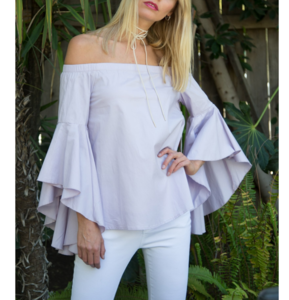 Lilac Hi Low Sleeve Off Shoulder