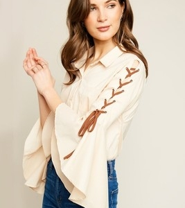 Bell Sleeve w/Suede Lace Up Top