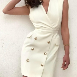 Off White Sleeveless Coat Dress