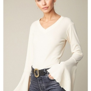 Cream Bell Sleeve Top