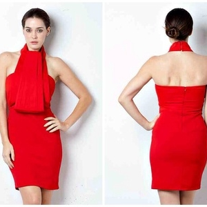 Red Pleated Halter Top Dress